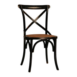 "Gaston Black Dining Chair, Black - The Gaston black dining chair has a distinct French caf� look and feel for a charming dining experience. The oak-framed chair is finished in black with slight distressing and boasts a cushioned rattan seat for maximum comfort. The curved ""X"" support on the back and arched supports in the frame give this armless dining chair a relaxed, inviting look. Sit down with a friend for sandwiches or enjoy a leisurely romantic dinner while sitting in this captivating dining chair."