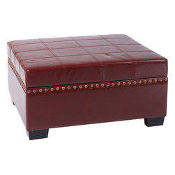 """Avenue Six - Detour Storage Ottoman with Tray in Crimson Red Eco Leather - Avenue Six Detour Storage Ottoman with Tray in Crimson Red Eco Leather; Multi-purpose capability as a storage ottoman and coffee table; Finished in an attractive eco leather fabric; Slam proof hinges for safety and easy accessibility; Sliding tray inside for easy access to stored items; Greenguard: No; Weight Capacity: 150; Outer Materials: Eco Leather / Wood; Assembly required: No; Dimensions: 36""""W x 30""""D x 18""""H"""