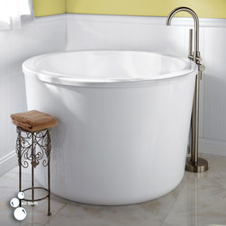 """47"""" Caruso Acrylic Japanese Soaking Air Tub - Equipped with a multi-jet air bath system, an integral seat and a deep interior, this round soaking air tub creates a spa-like atmosphere in your own home. The modern shape ensures both comfort and aesthetics."""