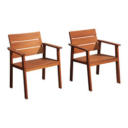 International Home Miami - Amazonia Nelson Eucalyptus Easy Carver 2 Piece Chair Set w/ Cushions - Nelson Eucalyptus Easy Carver 2 Piece Chair Set with Cushions belongs to Amazonia Collection by International Home Miami Great Quality, elegant design patio set, made of solid eucalyptus wood. FSC (Forest Stewardship Council) certified. Enjoy your patio with style with these great sets from our Amazonia outdoor collection.  Chair (2)