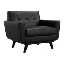 Modway Imports - Modway EEI-1336-BLK Engage Leather Armchair In Black - Modway EEI-1336-BLK Engage Leather Armchair In Black