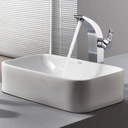 Kraus - Kraus White Rectangular Ceramic Sink and Illusio Faucet - Add a touch of elegance to your bathroom with a ceramic sink combo from Kraus