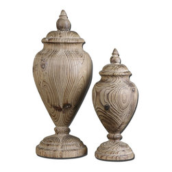 "Uttermost - Uttermost Brisco Carved Wood Finials, Set of 2 19613 - Made from carved, solid wood these finials feature a natural wood tone finish. Small size: 6""W x 14""H x 6""D, Large size: 8""W x 18""H x 8""D."