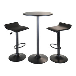 """Winsome Wood - Winsome Wood Obsidian 3 Piece Round Pub Set in Black - 3 Piece Round Pub Set in Black belongs to Obsidian Collection by Winsome Wood All in Black Pub Table Set, come with Round High Table and 2 Air Lift Adjustable Stools. Round table is 23.62"""" Diameter and 39.76"""" High. Table Top is made from MDF Venneer. Table base and post in metal. Two airlift swivel and adjustable stools compliment and sit comfotably. Seat is Faux Leather in Black. The seat height adjustable between 22.68"""" to 30.79"""". Overall stool at highest position is 15.16""""W x and 15.16""""D x 33.35""""H and lowest at 22.68'H. Simple assembly required. Pub Table (1), Barstool (2)"""