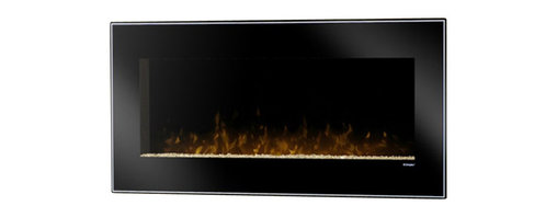 Dimplex - Dimplex Dusk Wall Mount Electric Fireplace in Black - Dimplex - Electric Fireplaces - DWF1215B - The Dusk offers a modern simple design with contemporary clean lines. The back-painted glass offers a mysterious edge while the solid black finish and pinstripe boarder compliment the bed of crushed glass embers to add a minimalistic appeal. This sleek wall mount fireplace will add dramatic flair to any space and its realistic patented LED flame will bring any room to life.