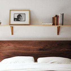 The Julie Bed - My headboard doesn't fit into the loft in my apartment, so I've been living without one for almost two years. This wooden bed with a headboard by Objets Mécaniques would fit just right in my small space.