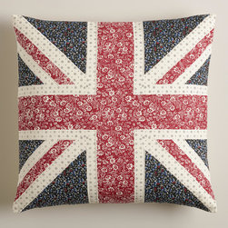 Union Jack Square Throw Pillow - Isn't this homespun Union Jack pillow adorable? I think it'd be perfect paired with a summer quilt in the guest room.