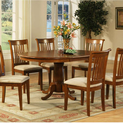 "East West Furniture - Portland 7Pc Set with Pedestal Oval Dining Table and 6 Microfiber Seat Chairs - Portland 7Pc Set with Single Pedestal Oval Dining Table Featured 18"" Extension Leaf and 6 Microfiber Upholstered Seat Chairs; Solid wood dining set finished in a warm saddle brown to compliment almost any decor; Oval tabletop can seat up to six with 18"" butterfly leaf, which conveniently folds under the table when not in use; Columnar pedestal with subtle accents add a touch of classic flair; Chairs are available upholstered in contrasting light fabric; Chair backs have vertical slats with scrolled tops, completing the stylish looks; Weight: 204 lbs; Dimensions: Table: 42-60""L x 42""W x 30""H; Chair: 18""L x 17""W x 38.5""H"