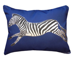 """Mari Robeson Home - Safari Chic Zebra Pillow, Blue, Without Pillow Insert - 12"""" x 16"""" Safari Chic Zebra Pillow Slip Cover with hidden zipper enclosure. It's always fun to add a little animal print to your decor! Royal Blue.Back is solid black cotton twill."""