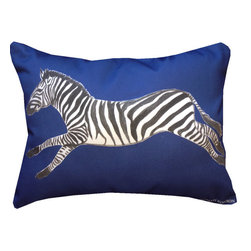 "Mari Robeson Home - Safari Chic Zebra Pillow, Blue, Without Pillow Insert - 12"" x 16"" Safari Chic Zebra Pillow Slip Cover with hidden zipper enclosure. It's always fun to add a little animal print to your decor! Royal Blue.Back is solid black cotton twill."