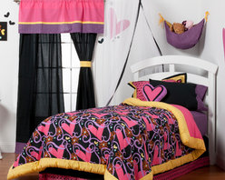 "Sassy Shaylee - Full Set (8pc) - Let  ""Sassy Shaylee"" make a bold and beautiful statement of who you are! Enter a room that shouts out in color and style!  Bold black surrounded by a gorgeous pattern of stripes, hearts, flowers and curly swirly designs in hues of pink, purple, orange and a dynamic yellow!  This 8pc set includes full comforter, full bed skirt, full flat sheet, full fitted sheet, 2 standard pillowcases, 2 standard flanged pillow shams. Sassy Shaylee full comforter is reversible so depending on your style you can add a lot of detail or a little.  Comforter comes in our designer ""Sassy Swirl"" cotton print fabric framed in our bold yellow.  Flat and fitted sheets come in our ""Purple & Black Stripe"" cotton fabric.  Two Standard pillowcase come in solid black and trim in ""Purple & Black Stripe"" cotton fabrics. Bed skirt showcases bold black trimmed in ""Sassy Hearts"".  Standard flanged sham is gorgeous in detail using ""Sassy Hearts"" framed in yellow and black.   SAVE WHEN YOU BUY AS A SET!"