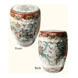 "n/a - 18'H Chinese Porcelain Garden Stool Hand Painted in Florentine Design - An Italian Florentine design adorns this porcelain Garden Stool, 18"" high, imported by us from China. Hand-painted rich, traditional Florentine colors such as dark reds, greens, and russets, & browns combined with a double glaze makes this a truly distinguished piece for your garden or your home's  interior. Thick hand glazing can be felt to the touch on this quality Chinese porcelain. This garden stool can be used as a seat, plant stand, or side table."