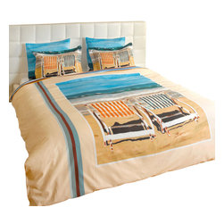"ARTnBED - Duvet Cover ""Chairs on the Beach"", Full/Queen - We rest so well at the beach - Is it the fresh air? The sound of the waves? The salt on our lips? You may be far from the beach but your rest is assured with this duvet cover graced with a large digital print of the painting ""Chairs on the Beach"" by the artist Arie Azene. Inspired by a perfect day at his favorite Mediterranean beach, Arie paints tranquility and relaxation in shades of blue and sand. Sweet dreams, indeed."