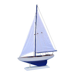 """Handcrafted Nautical Decor - Pacific Sailboat 25"""" - Wood Yacht Model - Not a model ship kit"""