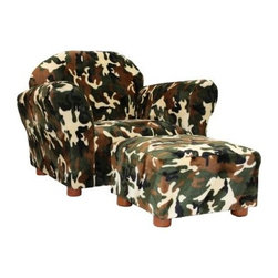 Fantasy Furniture Roundy Kids Chair Camo with Ottoman - The ideal chair for your future soldier or hunting fan, the Fantasy Furniture Roundy Kids Chair Camo with Ottoman feature a fun camp print that is sure to delight. Covered in faux fur for a soft and luxurious feel, this chair and ottoman set is perfect for your child to enjoy reading or looking at books, relaxing, or spending time with you. Underneath its bold camo print, this chair boasts a strong, durable, and handmade wooden frame covered in high density flame retardant foam for added comfort. Wooden feet add a sophisticated look to the chair and ottoman so they're right at home in any room of your house. Made to mimic an adult chair, this set is made for children ages two to five and can hold up to 100 pounds. Additional Features Frame covered with high density flame retardant foam Foam covering is extremely comfortable Wooden legs add a sophisticated touch Holds up to 100 pounds Made for children ages 2-5