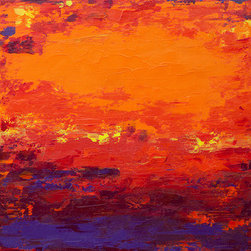 """Citrus Crush""  (Original) by Hilary Winfield - Citrus Crush is an original, modern art painting from the Abstract Expressionism series. This one-of-a-kind painting was created with acrylic paint on gallery-wrapped canvas. It has a width of 30 inches and a height of 30 inches with a depth of 1 inch (30x30x1). The edges are painted black creating a finished look so the canvas does not require a frame."