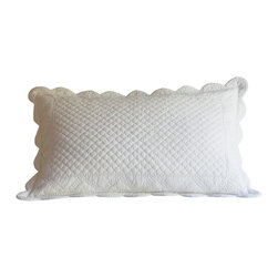 Taylor Linens - Laura King Sham - Generous in size and packed with detail, this sham offers craftsmanship rarely seen in commercial bedding. From the sculptural scalloped edges to the hand-stitched floral patterns caressing the surface, this is a pillow to cherish. Comes complete with a goose feather and down insert for long-lasting softness.
