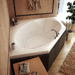 Venzi - Venzi Grand Tour Stella 60 x 60 Corner Air & Whirlpool Jetted Bathtub - The Stella series features corner construction with an oval opening, while round edges of the opening ensure safety and durability.