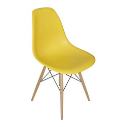 "2 Wood Eiffel Side Chairs, Yellow - One of our most popular accent chairs now comes in wood base too! Its Eiffel shape is reminiscent of the original. The eiffel base chair has an ""Eiffel Tower"" style wood base and plastic shell seat. The retro simplicity of these classic accent chairs will instantly enhance the modernity of your room. Each of these contemporary accent chairs is made from durable molded plastic with an ergonomically-shaped and curved seat. The legs are wooden and include steel hardware in black as well as plastic tips to protect sensitive flooring."