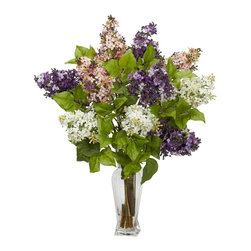 "Nearly Natural - Lilac Silk Flower Arrangement - One of the most colorful of flowers. Delicate, colorful petals and green leaves. Best of all, no watering needed. Construction Material: Polyester material, plastic, Iron, Glass. 18 in. W x 18 in. D x 24 in. H ( 4 lbs. ). Pot Size: 3.5 in. W x 10 in.HLilacs are amongst the most colorful of flowers, and we've captured that perfectly with this ""nearly natural"" re-creation of lilacs in full bloom. Yes, you won't be able to smell them, but they look so perfectly real, with delicate, colorful petals adorning stout branches with green leaves, that you won't mind one bit. This colorful collection is gathered in a glass vase with liquid illusion, making it the perfect adornment for a table, counter, or desk."