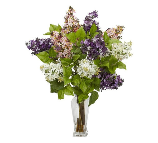 """Nearly Natural - Lilac Silk Flower Arrangement - One of the most colorful of flowers. Delicate, colorful petals and green leaves. Best of all, no watering needed. Construction Material: Polyester material, plastic, Iron, Glass. 18 in. W x 18 in. D x 24 in. H ( 4 lbs. ). Pot Size: 3.5 in. W x 10 in.HLilacs are amongst the most colorful of flowers, and we've captured that perfectly with this """"nearly natural"""" re-creation of lilacs in full bloom. Yes, you won't be able to smell them, but they look so perfectly real, with delicate, colorful petals adorning stout branches with green leaves, that you won't mind one bit. This colorful collection is gathered in a glass vase with liquid illusion, making it the perfect adornment for a table, counter, or desk."""