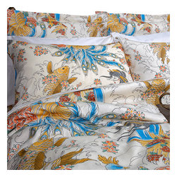 Sin in Linen - Geisha Garden Duvet Cover, Full/Queen - This beautiful tattoo print features images of coi fish, peacocks and geishas in a utopian garden of cherry blossoms.
