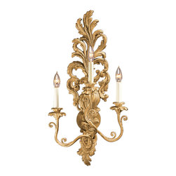 "Inviting Home - Louis XV Sconce in Antiqued Gold-Leaf - Louis XV style gold-leaf wall sconce; 15-1/2"" x 30-1/2""H; hand-crafted in Italy; Louis-XV style electrified carved wood sconce with three lights. This masterfully hand-crafted wall sconce has a rich layered ornamentation. All design elements of the sconce are superbly combined presenting a unified elegant design. The wall sconce is carved from wood and has antiqued gold leaf finish. Lavishly carved details and ornamentation allow for an instant appreciation of the contours and modeling of the beautifully proportioned wall sconce. This carved wood wall sconce is electrified and has three lights designed for candelabra bulb. UL approved - dry location; hardwire; 2x 60W max. candelabra bulds; bulbs not included. Approx. 6 feet of chain/wire drop provided. Handcrafted in Italy."