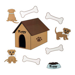 """Puppy Pal Boy - Wall Decals - Wall Decals come in a variety of shapes of our """"Puppy Pal"""",  his doghouse, his bones and his eating dish.  What a cute way to accent a room with this fun decor!"""