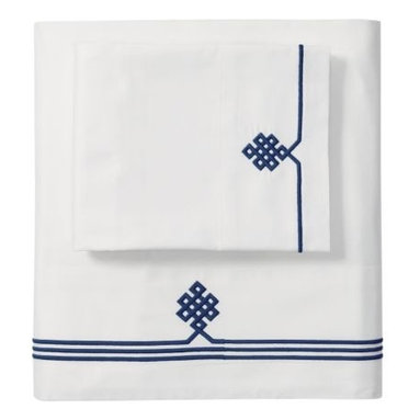 Serena & Lily - Navy Gobi Embroidered Sheet Set - Our not-so-basic white sheets make a great foundation for layering color and pattern throughout the room -- think of them as classics with a twist. Thanks to 300-thread-count pure-cotton sateen, they're also wonderfully comfortable.  An ancient Buddhist motif, representing the endless knot of wisdom, is embroidered in Navy on the flat sheet and cases.