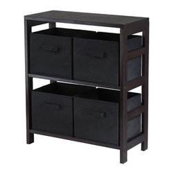 Winsome Wood - Winsome Wood Capri 2-Section M Storage Shelf w/ 4 Foldable Black Fabric Baskets - 2-Section M Storage Shelf w/ 4 Foldable Black Fabric Baskets belongs to Capri Collection by Winsome Wood This storage shelf comes with 4 foldable black fabric baskets. Warm Walnut finish storage shelf is perfect for any room in your home. Use it alone as bookcase/shelf or with baskets for a complete storage function. Assembly required for shelf. Shelf (1), Basket (4)