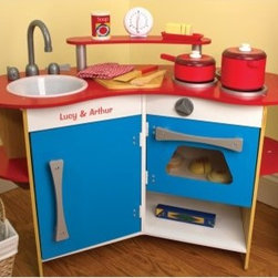 Melissa and Doug Personalized Cooks Corner Play Kitchen - Start training your little sous chef early with this Melissa and Doug Personalized Cooks Corner Play Kitchen. It's an imaginative play kitchen perfect for kids three and older. Made of wood with red, white, and blue kid-friendly paint, this play kitchen is safe and cute. The removable sink, working timer, and stove that clicks all make it seem so real. It even includes a pretend cutting board.About Melissa & Doug ToysSince 1988, Melissa & Doug have grown into a beloved children's product company. They're known for their quality, educational toys and items, and have grown in double digits annually. The Melissa & Doug company has been named Vendor of the Year by such great retailers as FAO Schwarz, Toys R Us, and Learning Express, and their toys have been honored as Toys of the Year by Child Magazine, FamilyFun Magazine and Parenting Magazine. Melissa & Doug - caring, quality children's products.