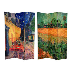 """Oriental Furniture - 6 ft. Tall Double Sided Works of Van Gogh Canvas Room Divider - Cafe Terrace - This majestic screen features two of Vincent Van Gogh's most beloved paintings created later in his career in Arles, in the south of France (a place that biographers say he disliked, but that art historians say inspired him deeply). The front image is the city scene of a local sidewalk cafe, Cafe Terrace at Night, Arles circa 1888, with Van Gogh's unmistakable """"swirling"""" stars. The back image is View of Arles with Irises in the Foreground circa 1888 featuring the Dutch master's classic impressionist irises. These lovely fine art prints are attractive, stylish interior design elements made to brighten your living room, bedroom, dining room, or home office. This three panel screen has different images on each side, as shown."""