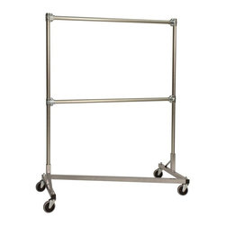 Z Racks - Heavy Duty Z-Rack 48 in. Double Rail Garment - Base Color: Silver. 500lb capacity. 14 gauge, 48 in. Long steel base (Environmentally safe powder coated finish). 16 gauge, 60 in. upright bars and double hang rails. 1 5/16 outside diameter upright bars and hang rail. Grey non-marking soft rubber with TP center 4 in. casters. Made in the USA. Assembly Required. 51 in. L x 23 in. W x 67 in. HMost two rail garment racks are ���recommended� to hold double the amount of clothing, but fail to stand up under stress. Their manufacturers simply try to pack double the garments into the same construction as a single rail rack. Not this double rack���built with two row construction, with one on top of the other so that the full weight is centered on the wheels. And not just any wheels���industrial strength casters won�۪t buckle under pressure like plastic parts. Its one heavyweight that delivers a powerful performance every time.