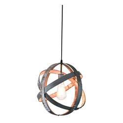Wine Country Craftsman - Atom Globe - Small Wine Barrel Ring Lantern - Design copyrighted and patent pending.