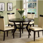 Hokku Designs - Arin 5 Piece Dining Set - Well-balanced proportions and a space saving table base make Arin 5-Piece Dining Set in Espresso Finish an elegant with a touch. This quality piece is an ideal dining set for in interior settings with its warm espresso solid wood finish. Features: -Generously sized round table top with unique tulip leggings.-Slender and tall chairs.-Generously padded seat cushion provide great seating comforts.-Seats 4 comfortably (Seating is based on the average seat width of 18'' per chair).-ISTA 3A certified.-Frame construction: Solid wood and strength enhancing veneer.-Collection: Arin.-Distressed: No.Dimensions: -Dining table dimensions: 30'' H x 48'' W x 48'' D.-Chair dimensions: 39.5'' H x 23'' W x 21.5'' D.