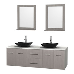 """Wyndham Collection - Centra 72"""" Grey Oak Double Vanity, White Carrera Marble Top, Black Granite Sinks - Simplicity and elegance combine in the perfect lines of the Centra vanity by the Wyndham Collection. If cutting-edge contemporary design is your style then the Centra vanity is for you - modern, chic and built to last a lifetime. Available with green glass, pure white man-made stone, ivory marble or white carrera marble counters, with stunning vessel or undermount sink(s) and matching mirror(s). Featuring soft close door hinges, drawer glides, and meticulously finished with brushed chrome hardware. The attention to detail on this beautiful vanity is second to none."""