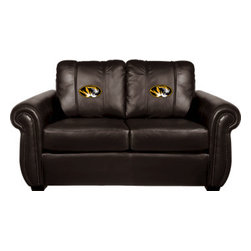 Dreamseat Inc. - University of Missouri NCAA Tigers Chesapeake Brown Leather Loveseat - Check out this Awesome Loveseat. It's the ultimate in traditional styled home leather furniture, and it's one of the coolest things we've ever seen. This is unbelievably comfortable - once you're in it, you won't want to get up. Features a zip-in-zip-out logo panel embroidered with 70,000 stitches. Converts from a solid color to custom-logo furniture in seconds - perfect for a shared or multi-purpose room. Root for several teams? Simply swap the panels out when the seasons change. This is a true statement piece that is perfect for your Man Cave, Game Room, basement or garage.