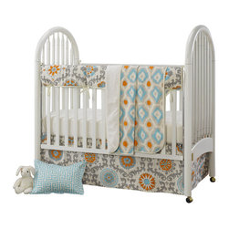 """Liz and Roo - Mandarin (Orange and Aqua) Damask Bumperless Crib 4 Piece Bedding - 4-pc Baby Bedding set including rail cover, crib sheet minky blanket and crib skirt. This reversible rail cover is 18"""" x 54"""" offering complete coverage of your crib rail. The minky blanket in mandarin ikat reverses to beautiful ivory minky (faux fur). The blanket measures 29""""x40"""", perfect for tummy time or in the stroller. The mandarin damask crib skirt fits a standard crib (52"""" x 28""""). The set is finished with a 100% cotton ivory crib sheet (52""""x28"""")."""