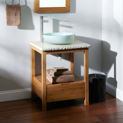 "24"" Aran Bamboo Vessel Sink Console Vanity - Ideal for a smaller bath or powder room, the 24"" Aran Bamboo Vanity Console for Vessel Sink flaunts gorgeous wood grain and a convenient drawer."