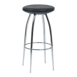 Eurostyle - Eurostyle Bernie-B PVC Fabric Bar Stool in Black w/ Chromed Steel Base [Set of 2 - PVC Fabric Bar Stool in Black w/ Chromed Steel Base belongs to Bernie-B Collection by Eurostyle For a stool so sturdy, the Bernie-B conveys a surprising air of lightness and delicacy. A commercial grade build, the beautifully tapered chromed steel legs add a certain dollop of extra style to the occupant. Barstool (2)
