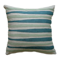 Balanced Design - Felt Appliqué Linen Pillow - Morris, Brook/Loden, 16x16 - Felt appliqué designs make a bold statement on this soft linen pillow. It's perfect for adding a burst of color and pattern to your home while also supporting hand-crafted work in the United States. Each pillow is sewn in Massachusetts and filled with fiber made from recycled plastic bottles. You can't go wrong with this ecofriendly design.