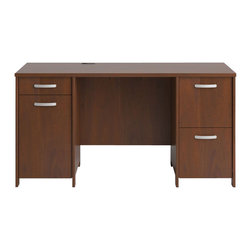 Bush - Bush Envoy Double Pedestal Desk Hansen Cherry Finish - Bush - Computer Desks - PR76560K - Launch your Envoy Collection office suite with the Double Pedestal Desk. Featuring two full-extension file drawers and two supplies drawers, the desk offers an integrated 4-port USB hub plus wire management features.