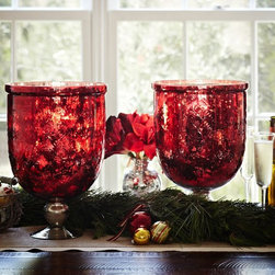 Red Mercury Glass Hurricane - With a simple decor approach, these brilliant red hurricane vases are the perfect festive statement without being overdone.