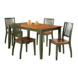 "Steve Silver Furniture - Steve Silver Candice 5-Piece Rectangular Dining Room Set in Oak and Green - The Candice collection offers country-style simplicity, transforming any dining area into a charming sanctuary. The two toned green and oak Candice table has a 36"" x 60"" surface, large enough to seat six comfortably. Pair with Candice side chairs and server to complete the look."
