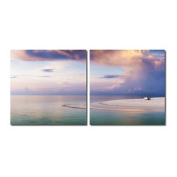 Baxton Studio - Baxton Studio Pastel Romance Mounted Photography Print Diptych - Swirls of soft pastel clouds set the scene for a romantic dinner on the sand. Made in China with MDF wood frames, this two-piece modern wall art set features an image split in half and printed on two waterproof vinyl canvases. The Pastel Romance Diptych is made in China and is fully assembled. Hardware for hanging on the wall of your choice is not supplied. To clean, wipe with a dry cloth.