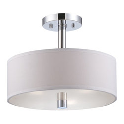 Designers Fountain - Designers Fountain Cordova Transitional Semi Flush Mount Ceiling Light X-HC-1154 - If simplicity is key in your design then the Cordova transitional semi-flush mount ceiling light by Designers Fountain is the perfect choice for you. This lighting fixture has a shiny, polished chrome finish and a white opal glass or white fabric shade. Its clean lines make it an ideal addition in a contemporary home.