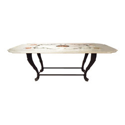 Italian Inlaid Marble Top Table with Iron Base - Dimensions: L 86''  × W 45''  × H 30''