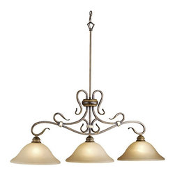 """Vaxcel Lighting - Vaxcel Lighting BE-PDD430AW Berkeley Traditional Kitchen Island / Billiard Light - Visually lyrical, the swooping forms are bound together with gold wrapped detail. With 9"""", 12"""", 18"""" and 24"""" rods included."""