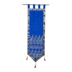 Indian Selections - Handmade Blue Wall Decor Tapestry with Tassels, 18 X 70  In. - Size: 18 X 70 Inches with 4 Inches Loops