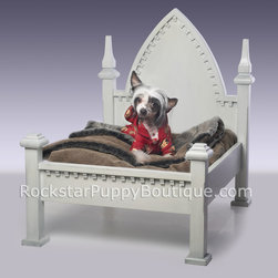 Rockstar Puppy - Gothic Dog Bed - Gothic Style Dog Bed ~ this bed is constructed of a paint grade solid wood. This bed can be painted and glazed in ANY color. If you send us a swatch, we can match the paint color. There is also an optional (no additional charge) glaze finish that can be added. We also offer crackle finish too. Please provide us with some color/finish guidance in the text field below or feel free to give us a call after you place your order to go over color and finish options. Mattress not included (use a standard size pillow for the mattress) ~ This Gothic Dog Bed is part of our Rockstar Puppy Premium Dog Furniture Collection ~ Designed by Rockstar Puppy and available exclusively on our website!